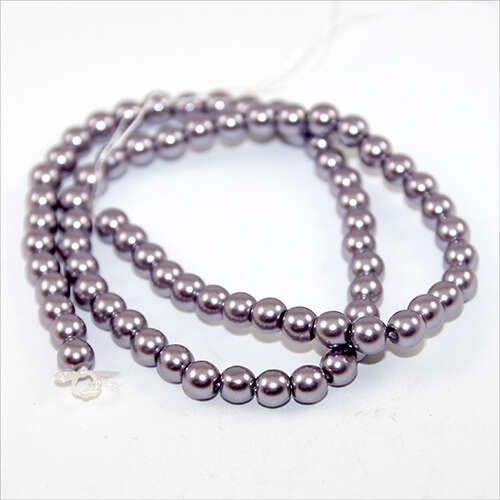 6mm Round Glass Pearls - 38cm Strand - Violet