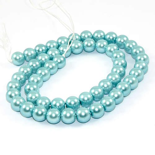 8mm Round Glass Pearls - 38cm Strand - Turquoise Blue