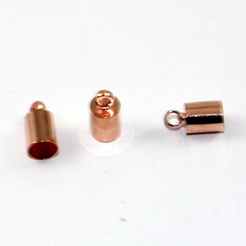 5mm Brass Cord End - Glue in - Rose Gold