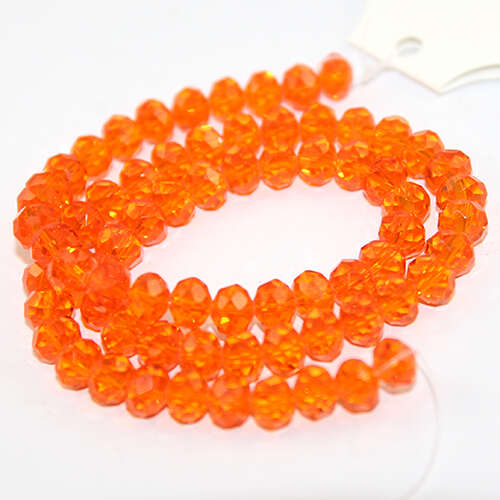 6mm x 8mm Glass Rondelle - 38cm Strand - Orange