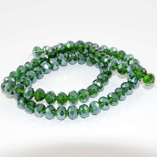6mm x 8mm Glass Rondelle - 38cm Strand - Emerald AB