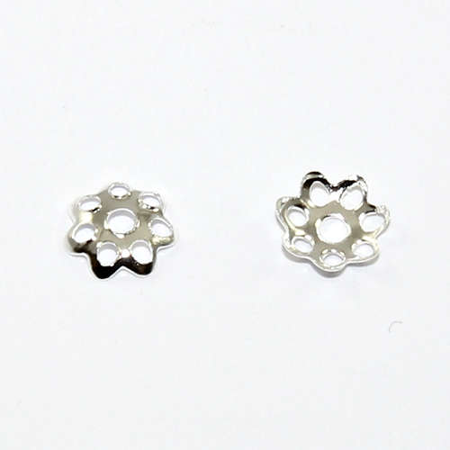 7 Point Petal Bead Cap - Silver