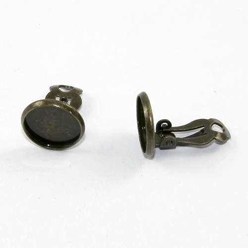 12mm Cabochon Setting Clip-ons - Pair - Antique Bronze