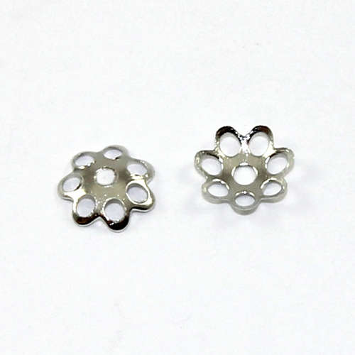 7 Point Petal Bead Cap - Platinum
