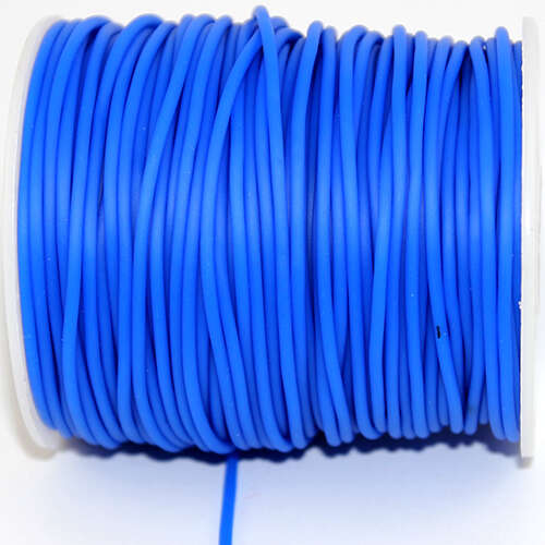 2mm Hollow Rubber Cord with a 1mm hole - sold per 10cm increments - Blue