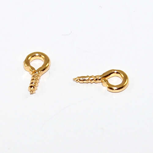 8mm Screw Eye Pin Bail - Gold