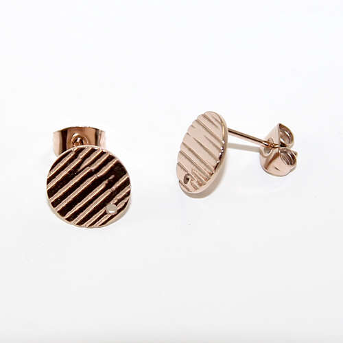 10mm Round 304 Stainless Steel Drop Stud - Rose Gold
