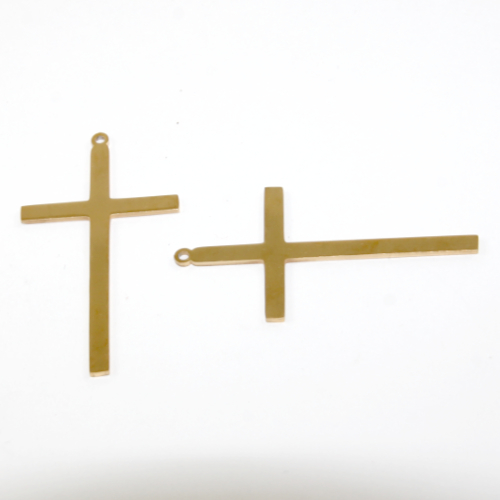 44mm x 24mm 201 Stainless Steel Cross - Bright Gold