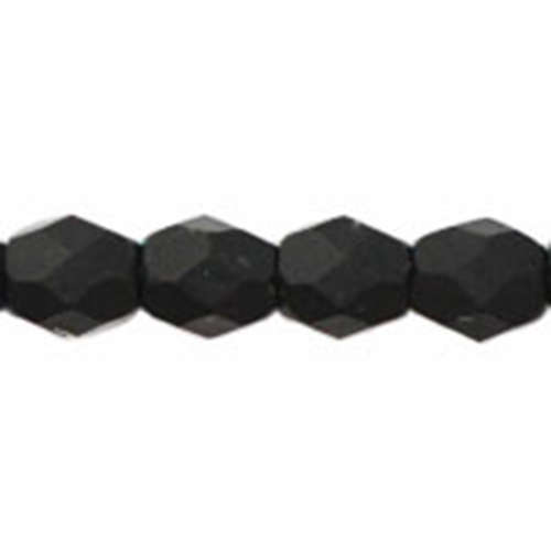 3mm - Matte - Jet - Faceted Round Firepolish - 50 Bead Strand - 1-03-M2398
