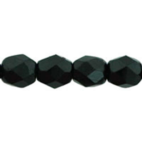 4mm - Jet - Faceted Round Firepolish - 50 Bead Strand - 1-04-2398