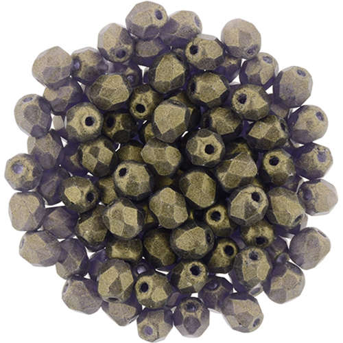 4mm - Sueded Gold Tanzanite - Faceted Round Firepolish - 50 Bead Strand - 1-04-MSG2051