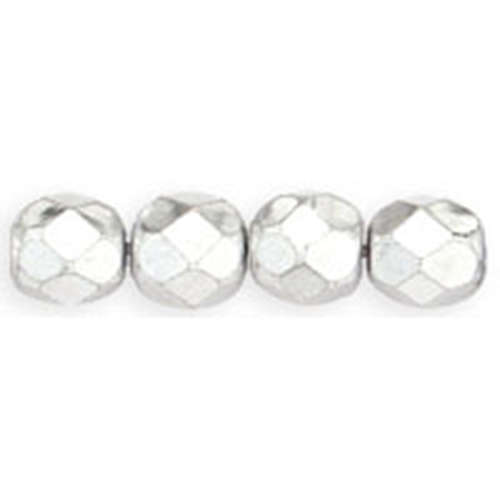6mm - Silver - Faceted Round Firepolish - 25 Bead Strand - 1-06-27000