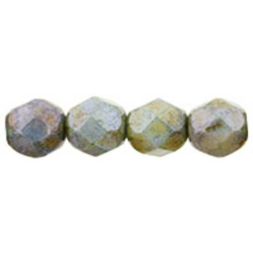 6mm - Opaque Green Luster - Faceted Round Firepolish - 25 Bead Strand - 1-06-P65431