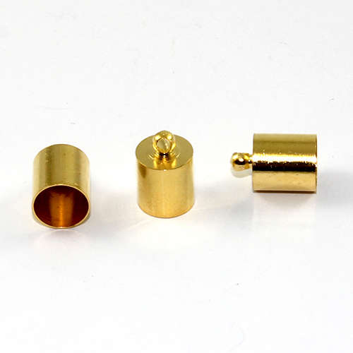 8mm Brass Cord End - Glue in - Gold