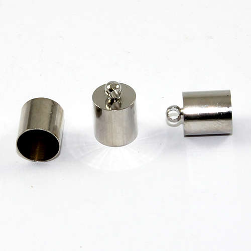 8mm Brass Cord End - Glue in - Platinum