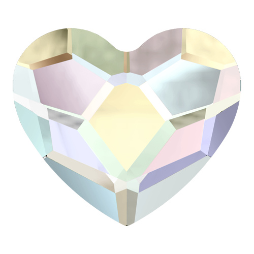 2808 - 6mm - Crystal AB F (001 AB) - Heart No Hot Fix Flat Back Crystal