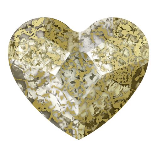 2808 - 14mm - Crystal Gold Patina F (001 GOLPA) - Heart No Hot Fix Flat Back Crystal