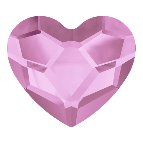 2808 - 14mm - Rosaline F (508) - Heart No Hot Fix Flat Back Crystal
