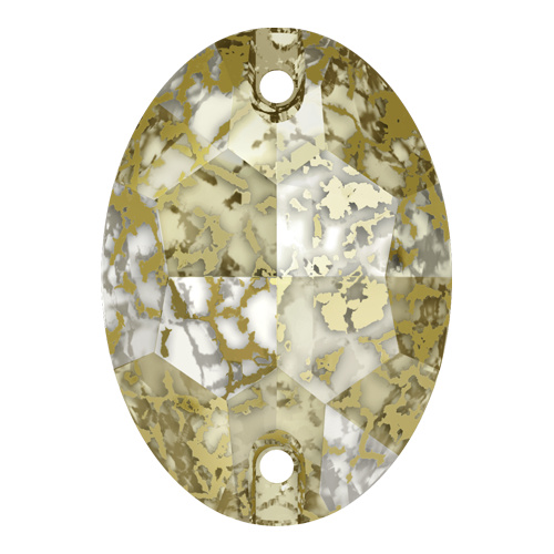 3210 - 10mm x 7mm - Crystal Gold Patina F (001 GOLPA) - Oval Sew-On Crystal