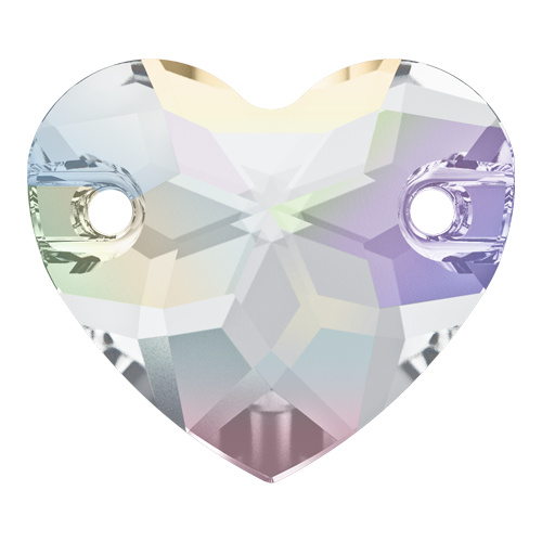 3259 - 16mm - Crystal AB F (001 AB) - Heart Sew-On Crystal