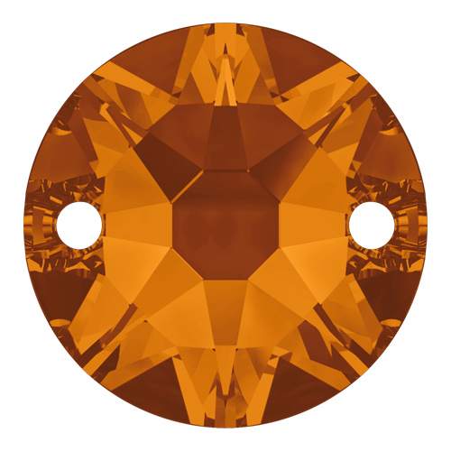 3288 - 8mm - Tangerine F (259) - XIRIUS Round 2 Hole Sew-On Crystal