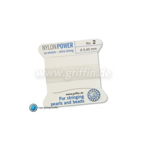 No 2 - 0.45mm - White Carded Bead Cord Nylon Power - 070102
