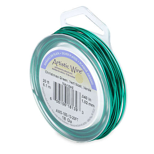 18 Gauge (1.0 mm) - 20 FT (6.1 m) - Silver Plated, Christmas Green - AWS-18S-13-20FT