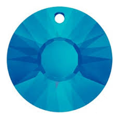 6724/G - 19mm - Crystal Bermuda Blue (001 BB) - Sun (Partially Frosted) Crystal Pendant