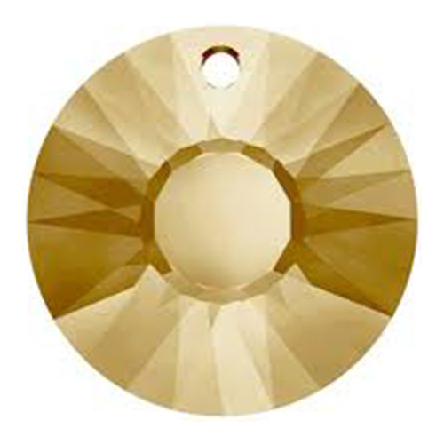 6724/G - 33mm - Crystal Golden Shadow (001 GSHA) - Sun (Partially Frosted) Crystal Pendant