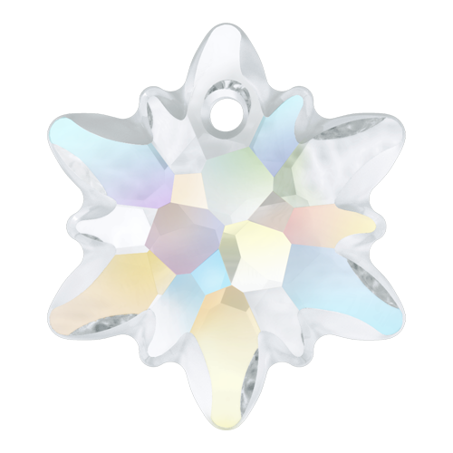 6748/G - 28mm - Crystal AB (001 AB) - Edelweiss Crystal Pendant (Partially Frosted)
