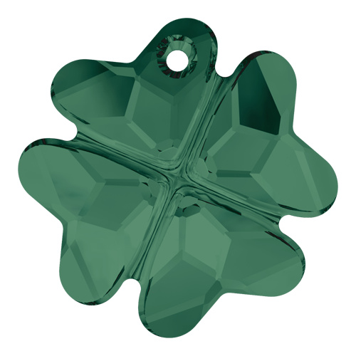 6764 - 23mm - Emerald (205) - Clover Crystal Pendant