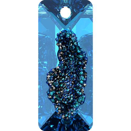 6925 - 26mm - Crystal Bermuda Blue P (001 BB) - Growing Crystal Rectangle Pendant