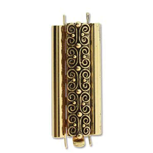 Beadslide Clasp Squiggle Design - Antique Gold - CLSP219AG-36
