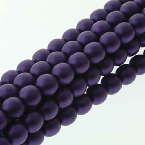 4mm Czech Glass Pearl - 120 Bead Strand - PRL04-70038M - Matte Purple