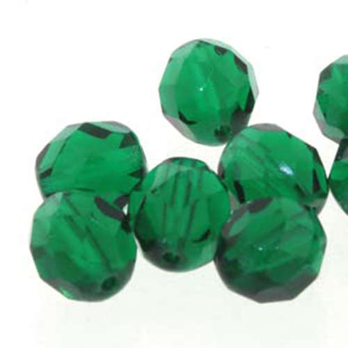 6mm Chrysolite Round Faceted Beads, 25 Bead Strand - 6-FPR065014