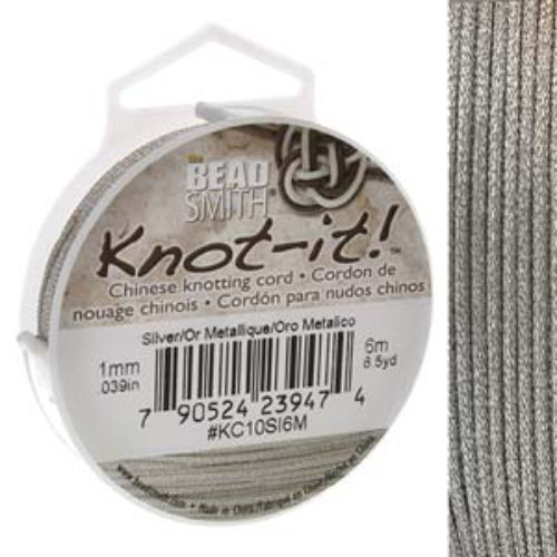 Chinese Knotting Cord Metallic Silver - 1mm - 6m - KC10SI6M