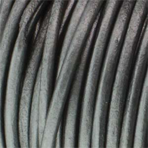 2mm Metallic Grey Indian Leather - sold per 10cm centimetre increments
