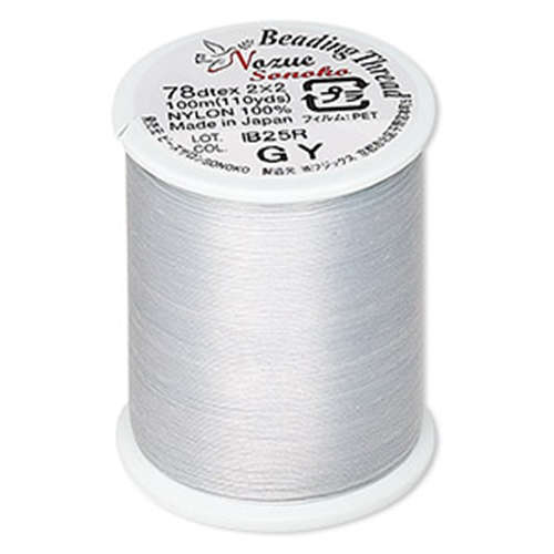 Nozue Sonoko 78D-TEX Beading Thread - 110 Yard / 100m Spool - Grey - NS78GY