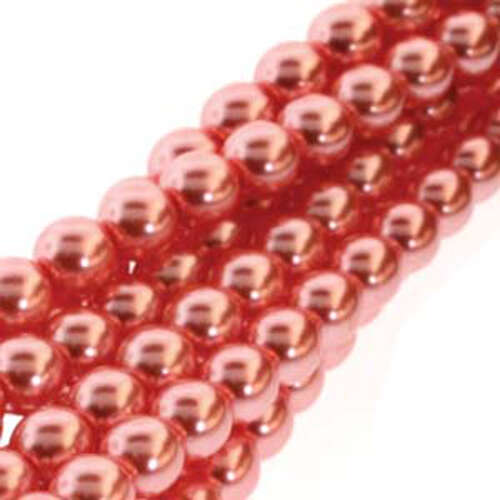 8mm Czech Glass Pearl - 75 Bead Strand - PRL08-70482 - Salmon