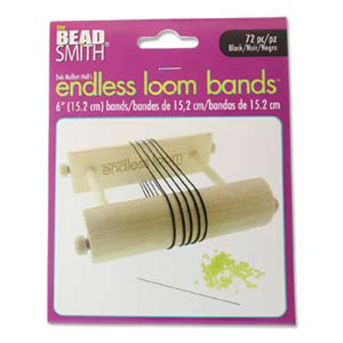 Endless Loom Bands 6 Inch Black Bag Of 72 - ENDB-6-BK-72
