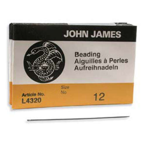 John James - English Beading Needles - 25 Pack Size 12 - L4320-012