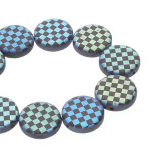 14mm 2 Hole Coin Bead - 10 Bead Strand - Checkered - Black & Matte Jet AB - CN14-23980-28773CB
