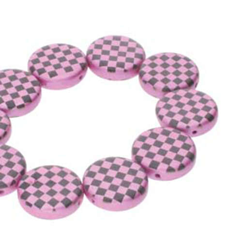 14mm 2 Hole Coin Bead - 10 Bead Strand - Checkered - Black & Pink - CN14-23980-25512CB