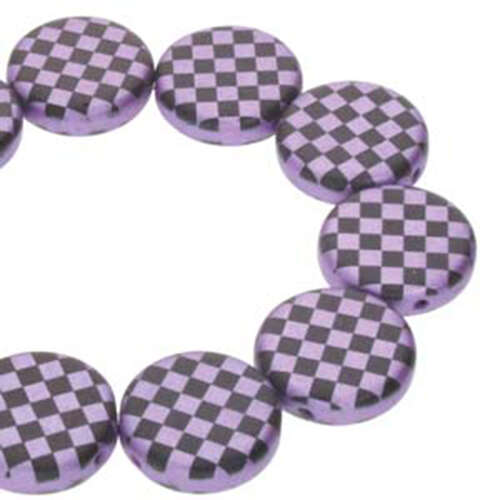 14mm 2 Hole Coin Bead - 10 Bead Strand - Checkered - Black & Violet - CN14-23980-25012CB