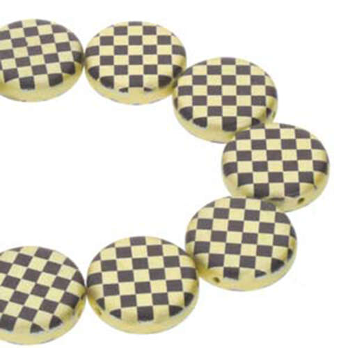 14mm 2 Hole Coin Bead - 10 Bead Strand - Checkered - Black & Yellow - CN14-23980-25002CB
