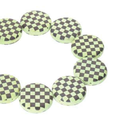 14mm 2 Hole Coin Bead - 10 Bead Strand - Checkered - Black & Green - CN14-23980-295GRCB