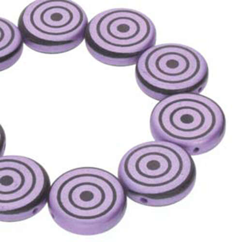 14mm 2 Hole Coin Bead - 10 Bead Strand - Target - Black & Violet - CN14-23980-25012DB