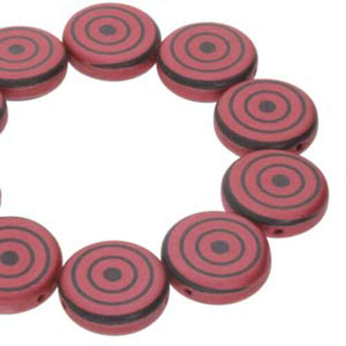 14mm 2 Hole Coin Bead - 10 Bead Strand - Target - Black & Red - CN14-23980-25009DB