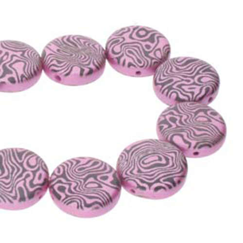 14mm 2 Hole Coin Bead - 10 Bead Strand - Contour - Black & Pink - CN14-23980-25512CL
