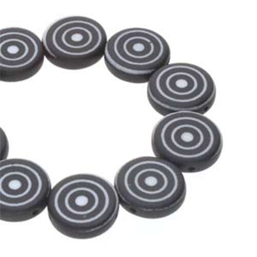 14mm 2 Hole Coin Bead - 10 Bead Strand - Target - Black & White - CN14-02010-29572DB